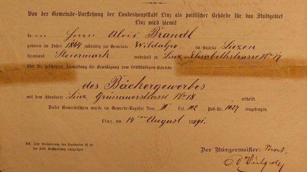 1891 Gewerbeschein Bäckerei Brandl Linz